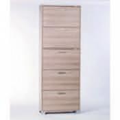Shoe Rack Clear Elm Shoe Rack with 5 Double-Depth Folding Doors Sarmog A765-Clear Elm