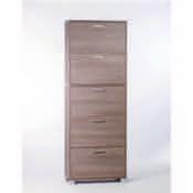 Shoe Rack Gray Oak Shoe Rack with 5 Double-Depth Folding Doors Sarmog A765-Gray Oak