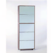 Shoe Rack Gray Oak Shoe Rack with 5 Double-Depth Mirror Folding Doors Sarmog A765SP-Gray Oak