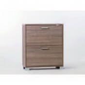 Shoe Rack Gray Oak Shoe Rack with 2 Double-Depth Folding Doors Sarmog A782-Gray Oak