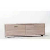 Shoe Rack Clear Elm Shoe Rack with 2 Double-Depth Folding Doors Sarmog A787-Clear Elm