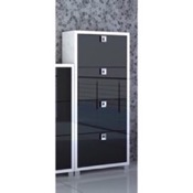 Shoe Rack Glossy White and Black Shoe Rack with 4 Folding Double-Depth Doors 574GW-GB Sarmog 574GW-GB
