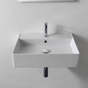 Bathroom Sink Rectangular White Ceramic Wall Mounted or Vessel Sink Scarabeo 5111