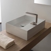 Bathroom Sink Rectangular White Ceramic Vessel Sink Scarabeo 5112