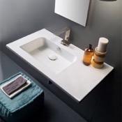 Bathroom Sink Sleek Rectangular Ceramic Wall Mounted With Counter Space Scarabeo 5211
