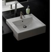 Bathroom Sink 24 Inch Square Ceramic Semi-Recessed Sink Scarabeo 8007/D