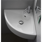 Bathroom Sink Square White Ceramic Wall Mounted or Vessel Corner Sink Scarabeo 8007/E
