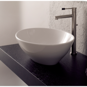 Bathroom Sink Oval-Shaped White Ceramic Vessel Sink Scarabeo 8011