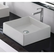 Bathroom Sink Square White Ceramic Vessel Sink Scarabeo 8031/40