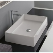 Bathroom Sink Rectangular White Ceramic Vessel Sink Scarabeo 8031/60