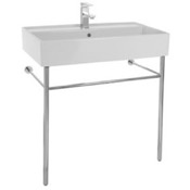 Bathroom Sink Rectangular Ceramic Console Sink and Polished Chrome Stand Scarabeo 8031/R-80-CON