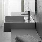 Bathroom Sink Square White Ceramic Semi-Recessed Sink Scarabeo 8031/D