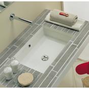 Bathroom Sink Rectangular White Ceramic Undermount Sink Scarabeo 8037
