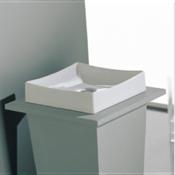 Bathroom Sink Square White Ceramic Vessel Sink Scarabeo 8040