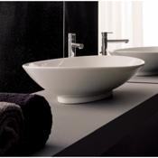 Bathroom Sink Oval-Shaped White Ceramic Vessel Sink Scarabeo 8045