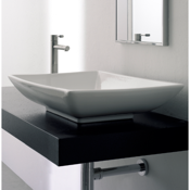Bathroom Sink Rectangular White Ceramic Vessel Sink Scarabeo 8046