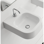 Bathroom Sink Square White Ceramic Wall Mounted or Vessel Sink Scarabeo 8047/B