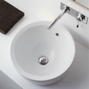 Bathroom Sink Round White Ceramic Drop In Sink Scarabeo 8055/A