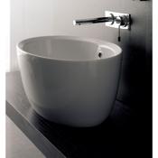 Bathroom Sink Oval-Shaped White Ceramic Vessel Sink Scarabeo 8056