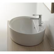 Bathroom Sink Oval-Shaped White Ceramic Drop In Sink Scarabeo 8056/A/R