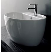 Bathroom Sink Oval-Shaped White Ceramic Vessel Sink Scarabeo 8056/R
