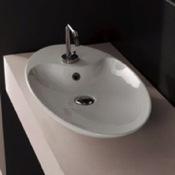 Bathroom Sink Oval-Shaped White Ceramic Vessel Sink Scarabeo 8097