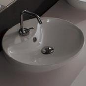Bathroom Sink Round White Ceramic Vessel Sink Scarabeo 8098