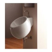 Bathroom Sink Round White Ceramic Wall Mounted Sink Scarabeo 8100