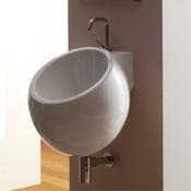 Bathroom Sink Round White Ceramic Wall Mounted Sink Scarabeo 8101