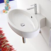 Bathroom Sink Oval Shaped White Ceramic Wall Mounted or Vessel Bathroom Sink Scarabeo 8109