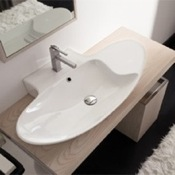 Bathroom Sink Oval-Shaped White Ceramic Wall Mounted or Vessel Sink Scarabeo 8200