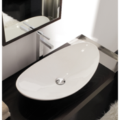 Bathroom Sink Oval-Shaped White Ceramic Vessel Sink Scarabeo 8206