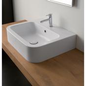 Bathroom Sink White Ceramic Vessel or Wall Mounted Bathroom Sink Scarabeo 8308
