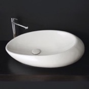 Bathroom Sink Oval Shaped White Ceramic Vessel Bathroom Sink Scarabeo 8601