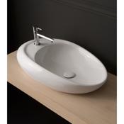Bathroom Sink Oval Shaped White Ceramic Vessel Bathroom Sink Scarabeo 8602