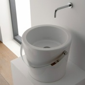 Bathroom Sink Round White Bucket Ceramic Vessel Sink Scarabeo 8801