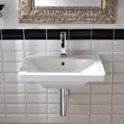 Bathroom Sink Rectangular White Ceramic Wall-Mounted or Vessel Sink Scarabeo 4003