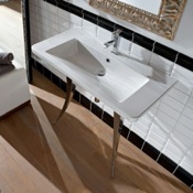 Bathroom Sink Rectangular White Ceramic Wall-Mounted or Vessel Sink Scarabeo 4005