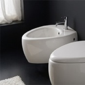 Bidet Round White Ceramic Wall Mounted Bidet Scarabeo 8605