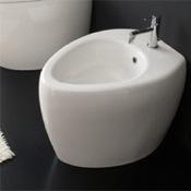 Bidet Round Ceramic Floor Standing Bidet Scarabeo 8607