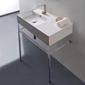 Bathroom Sink Rectangular Ceramic Console Sink and Polished Chrome Stand Scarabeo 5115-CON