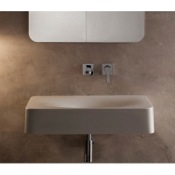 Bathroom Sink Rectangular White Ceramic Wall Mounted or Vessel Sink Scarabeo 6002