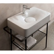 Bathroom Sink Rectangular White Ceramic Wall Mounted or Vessel Sink Scarabeo 6004