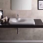 Bathroom Sink Square White Ceramic Drop In Sink Scarabeo 6014
