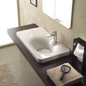 Bathroom Sink Square White Ceramic Drop In Sink Scarabeo 6015