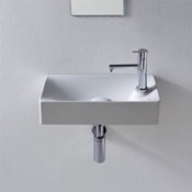 Bathroom Sink Rectangular Small White Ceramic Wall Mounted or Vessel Sink Scarabeo 1501