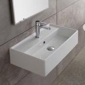 Bathroom Sink Rectangular White Ceramic Wall Mounted or Vessel Sink Scarabeo 5001