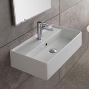 Bathroom Sink Rectangular White Ceramic Wall Mounted or Vessel Sink Scarabeo 5003