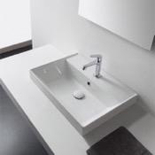 Bathroom Sink Rectangular White Ceramic Drop In Sink Scarabeo 5109