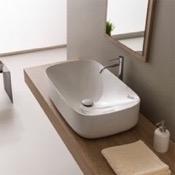 Bathroom Sink Oval White Ceramic Vessel Bathroom Sink Scarabeo 5502
